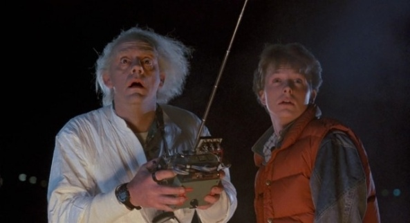 Christopher Lloyd Dr. as Emmett Brown (Left) & Michael J. Fox as Marty McFly (Right)