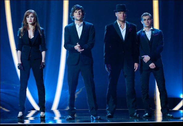 Isla Fisher as Henley Reeves (Left), Jesse Eisenberg as J. Daniel Atlas (Center-Left), Woody Harrelson as Merritt McKinney (Center-Right), and Dave Franco as Jack Wilder (Right)